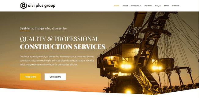 divi free construction template