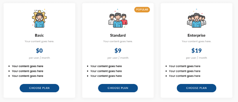 Divi Pricing table web design inspiration