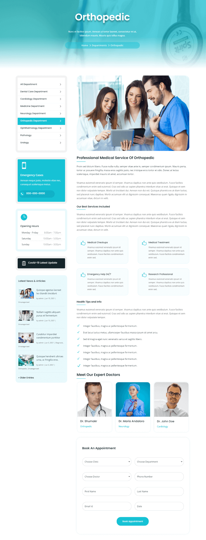 Single department page in medical child theme by Divi plus