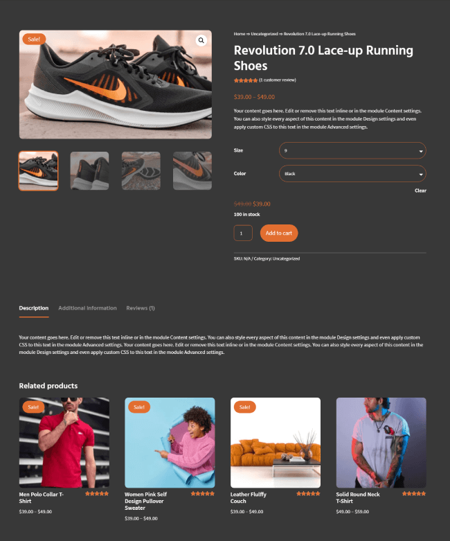 2nd product page example for Divi