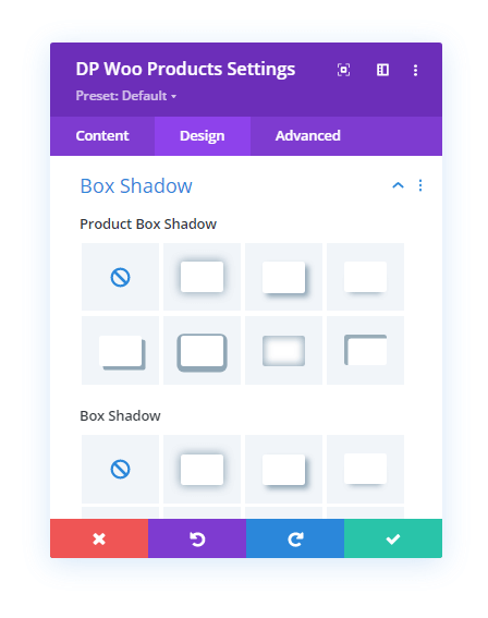Box Shadow settings for the WooCommerce Products