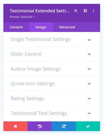 Design tab of the Divi testimonial slider plugin