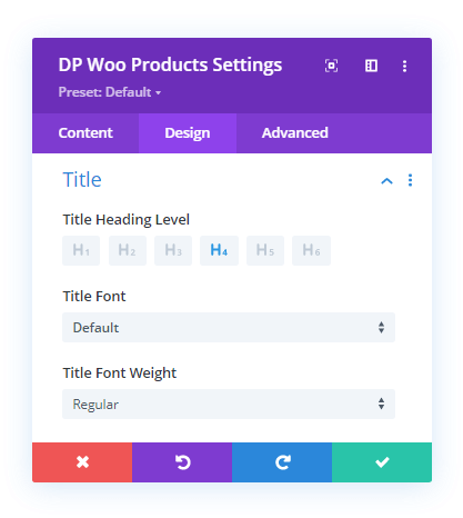 Divi Plus WooCommerce Products Title Text Customizations