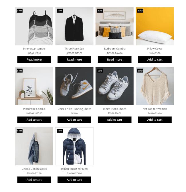 Divi Plus WooCommerce Products layout 1