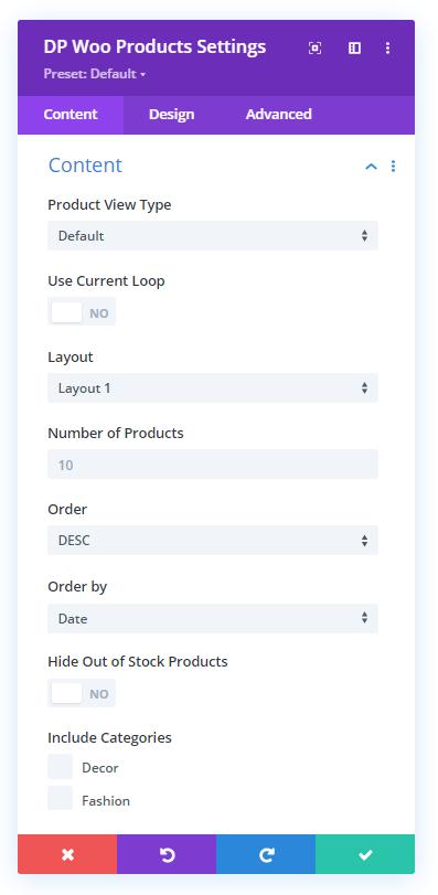Divi Plus WooCommerce Products module content settings