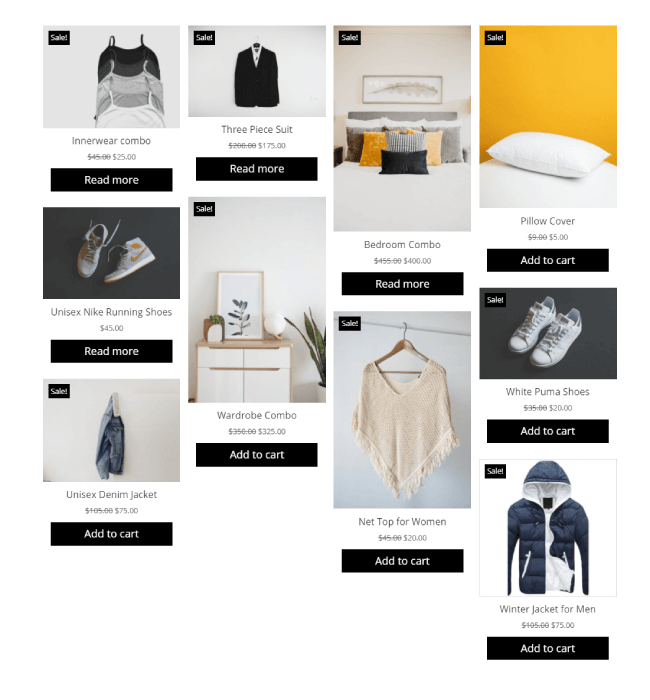 Divi Plus WooCommerce Shop products in Masonry format