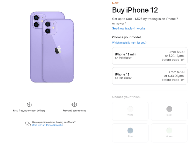 Divi WooCommerce prodcut page example from Apple