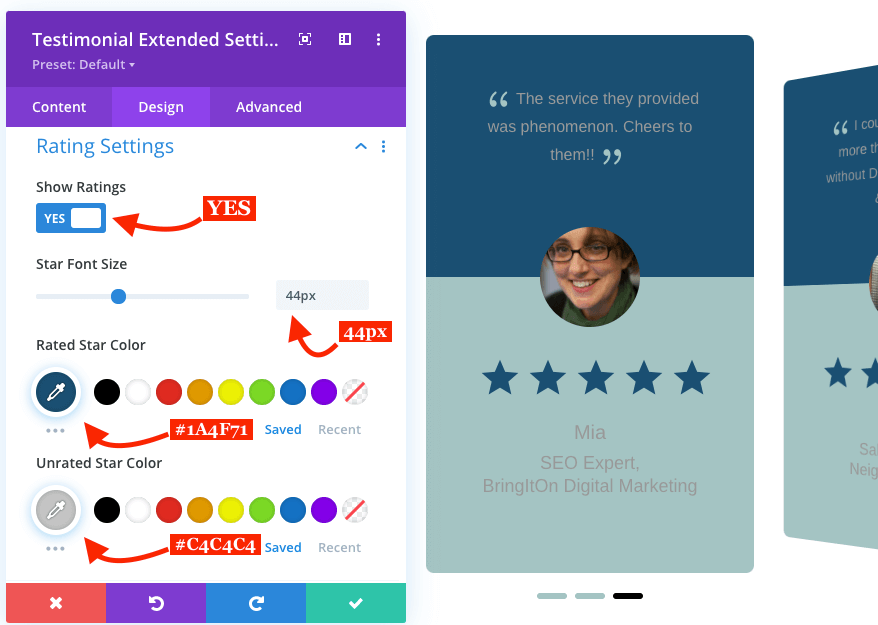 Divi client reviews slider with star ratings