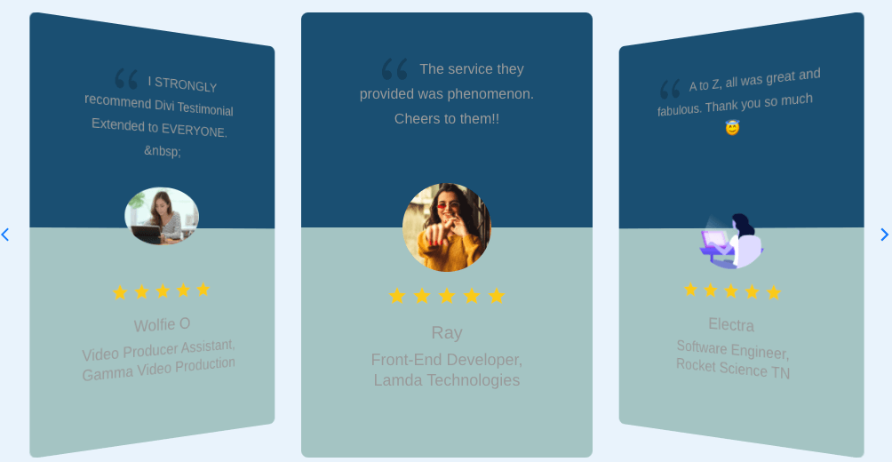 Divi testimonial slider plugin with slider arrows