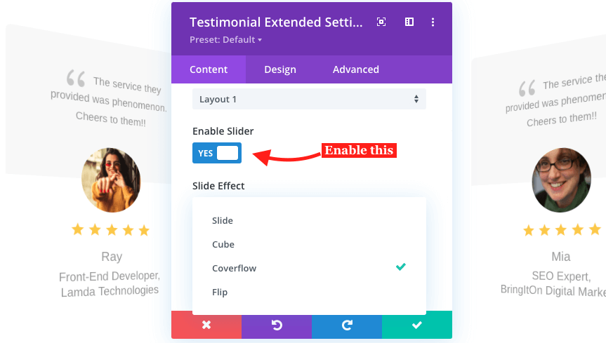 Enable slider option to get slide effects in testimonial slider plugin