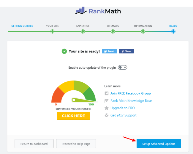 Opening Setup Advanced Options in Rank Math in Setup Wizard