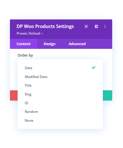 Order by option in the WooCommerce Products module