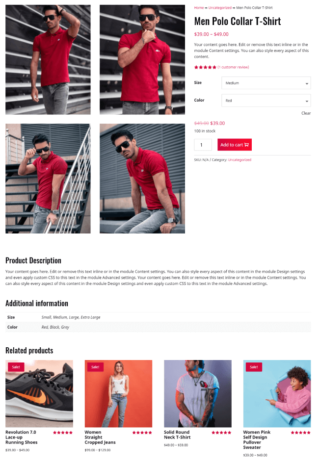 Product page example for Divi