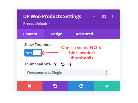 Products thumbnail option