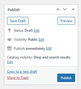 Publish button for Divi WooCommerce Shop product