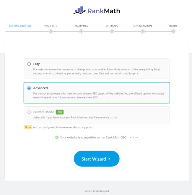 Rank Math plugin setup stage 1st