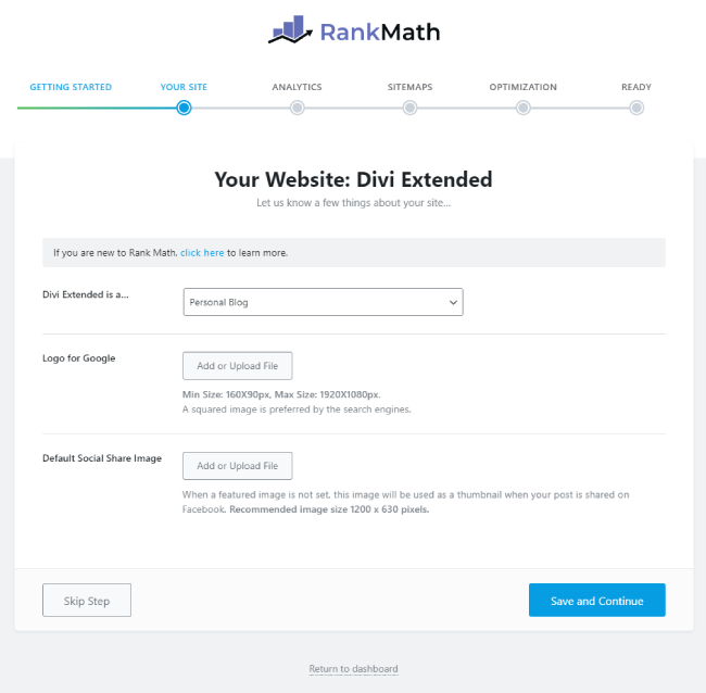 Rank Math your site step in setup wizard