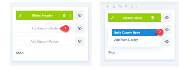 Shop template in Divi Theme Builder