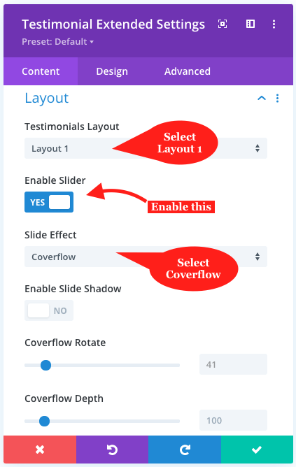 Testimonial slider layout settings