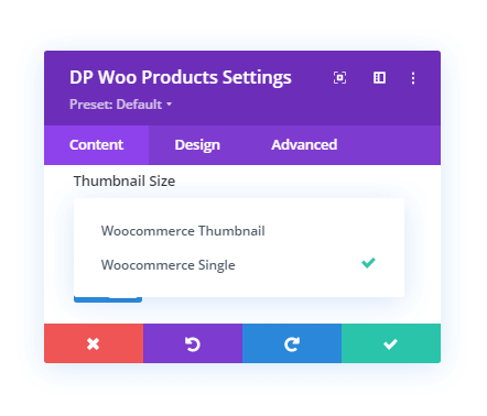 Thumbnail Size option in the Divi Plus WooCommerce Products