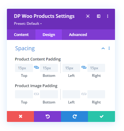 WooCommerce Products Spacing settings
