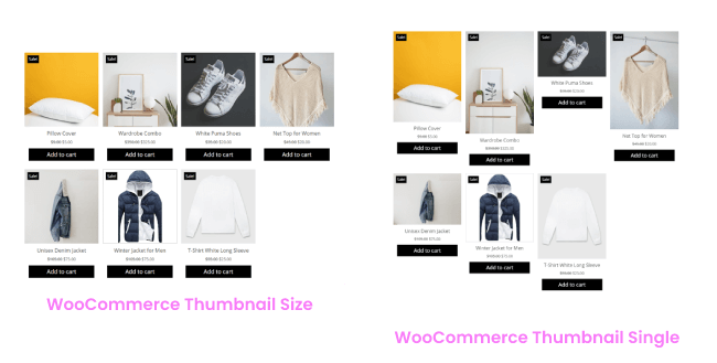 WooCommerce Products Thumbnail Size Variation