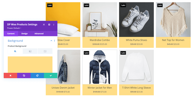 WooCommerce Products with background customizations