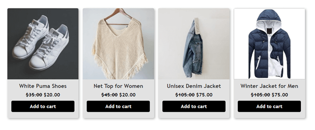 WooCommerce Products with box shadow and border styles applies