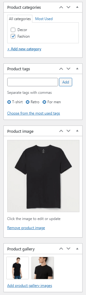 WooCommerce product editor and its sidebar