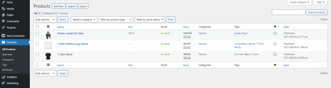 WooCommerce products list in Divi