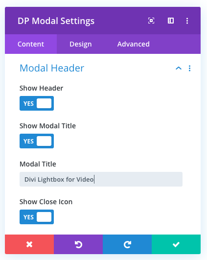 Divi Plus modal header content settings