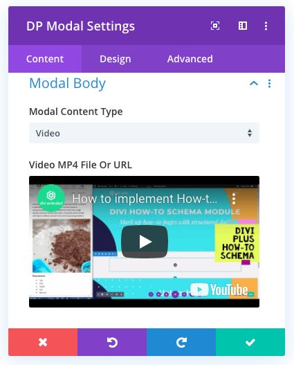 Divi modal for video lightbox body content settings