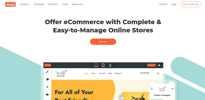 Duda eCommerce website builder for creative ways