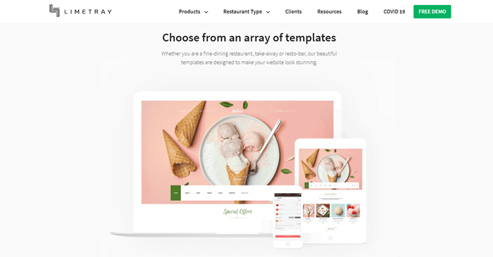 LimeTray restaurant website builder