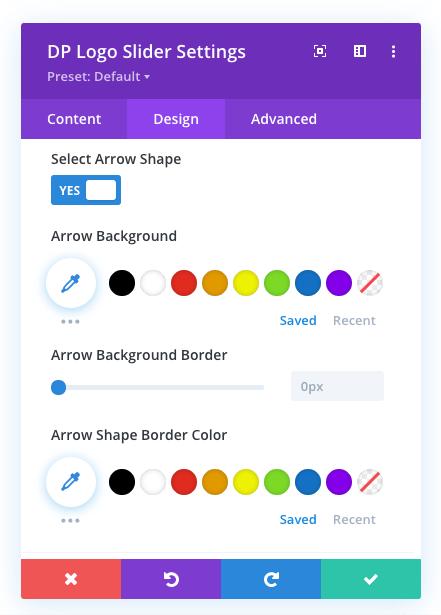 Logo carousel arrow shape settings for Divi