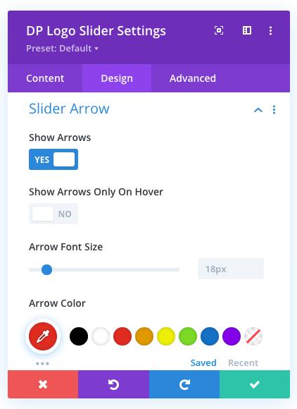 Logo slider arrow settings