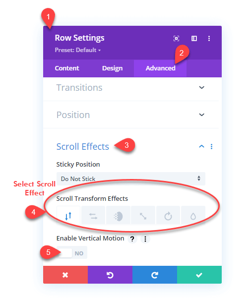 Opening Divi Scoll Effects setting