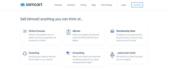 SamCart online courses website builder