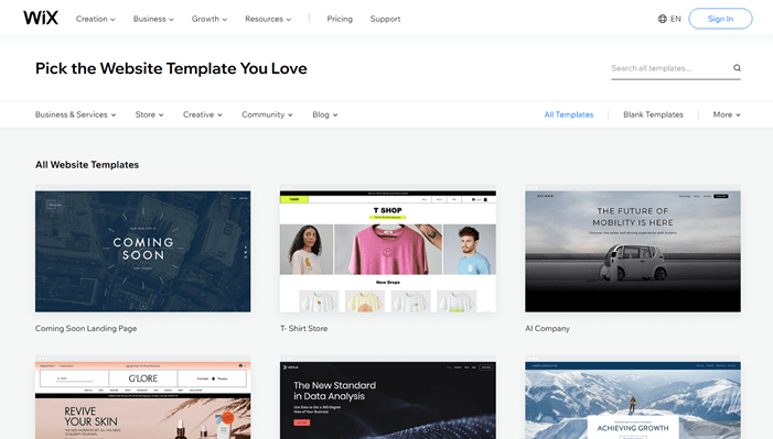 Wix templates library