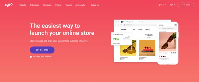 Zyro online store builder