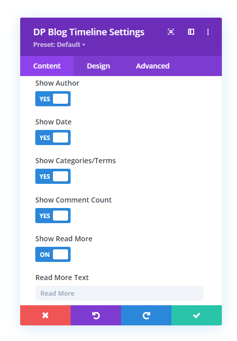 Blog Timeline with Elements more options