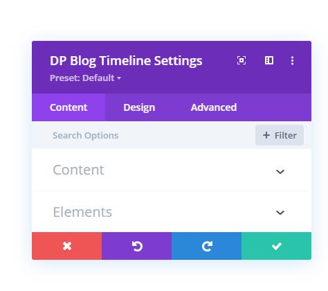 Content tab settings of Divi Plus Blog Timeline module