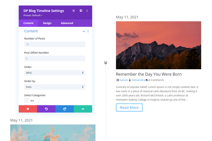 Divi Plus Blog Timeline module and its first look