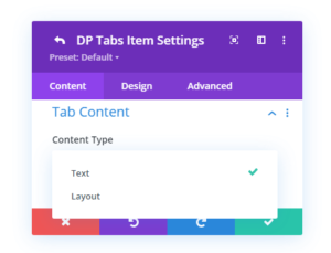 Divi Plus Tabs Content Type selection