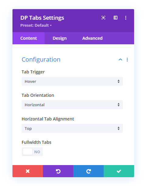 Divi vertical tabs configuration setttings in the content tab