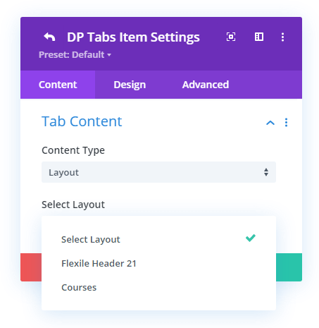 Premade layout option in the Divi Plus Tabs module
