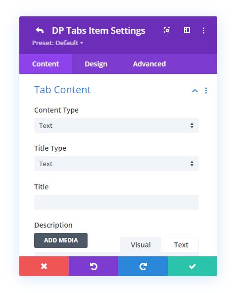 Settings of the individual tabs item