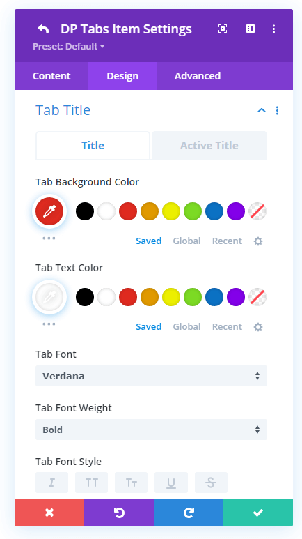 Tabs title and background customizations for both active and non-active tab