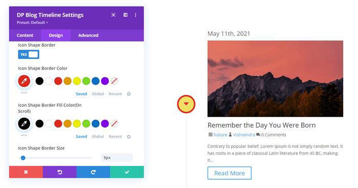 Timeline for blog stem icon shape