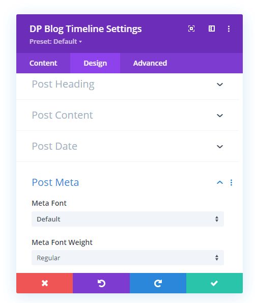 Timeline post heading, content, date and meta settings